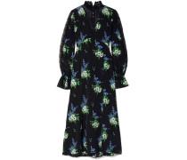 Woman Lace-paneled Floral-print Silk Crepe De Chine Midi Dress Black