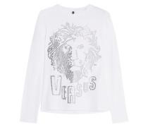 Studded Stretch-cotton Jersey Top Weiß