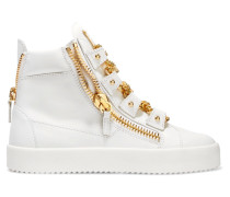 Chain-embellished Leather Wedge Sneakers Weiß