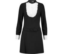Poplin-trimmed Crepe Mini Dress Schwarz