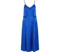 Hugo Pleated Hammered Silk-satin Midi Slip Dress