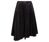 Asymmetric Pleated Faux Leather Midi Skirt