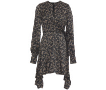 Wrap-effect Floral-print Hammered Stretch-silk Mini Dress