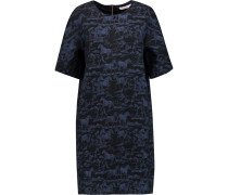 Stretch-cotton Jacquard Mini Dress Rauchblau