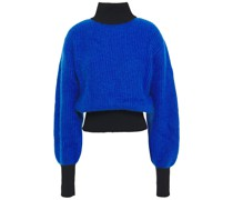 Appliquéd Two-tone Ribbed-knit Turtleneck Sweater