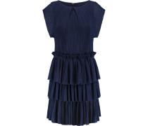 Tiered Plissé-chiffon Mini Dress Mitternachtsblau