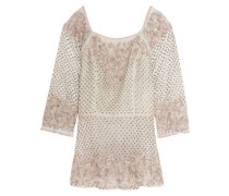 Alina embroidered embellished tulle top