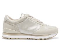 Jamie Leather And Metallic Suede Sneakers Silber