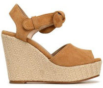 Knotted suede platform wedge sandals
