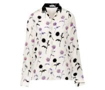 Floral-print silk-satin shirt
