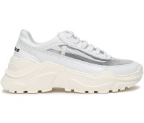 Woman Two-tone Leather And Pvc Sneakers White