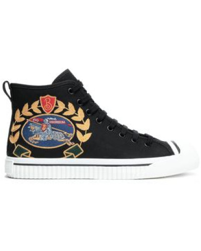 Embroidered Twill Sneakers Black
