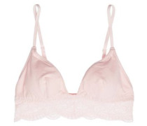 Lace-trimmed cotton-blend jersey triangle bra