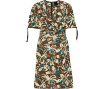 Printed Crepe De Chine Dress Braun