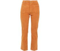 Le Cord Bardot Cropped Cotton-blend Corduroy Slim-leg Pants