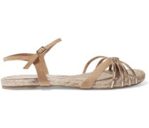 Ianna metallic leather and suede sandals