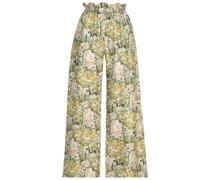 Libra Bedruckte Hose mit Weitem Bein aus Seiden-twill mit Zierschnallen