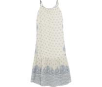 Positano tasseled printed crinkled cotton and silk-blend midi dress