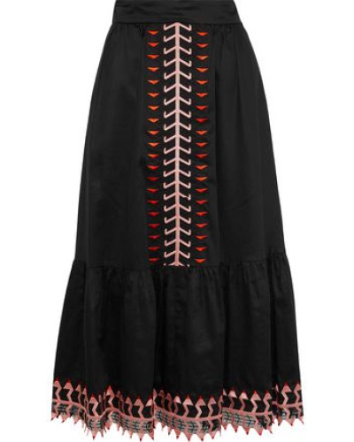 Agnes Embroidered Tulle-trimmed Cotton Midi Skirt Black Size 14