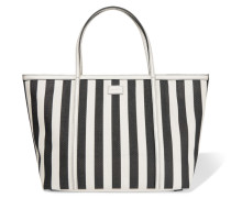 Striped Leather-trimmed Woven Tote Schwarz