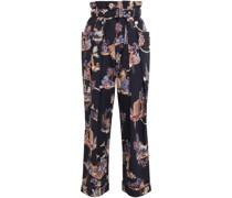 Hose mit Weitem Bein aus Baumwollpopeline mit Floralem Print, Falten und Gürtel