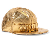 Embellished Metallic Quilted Leather Cap Gold