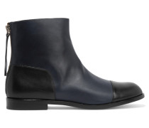 Two-tone Paneled Leather Ankle Boots Mitternachtsblau