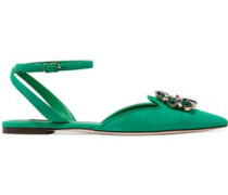 Bellucci crystal-embellished suede point-toe flats