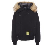 Faux Fur-trimmed Canvas Hooded Down Coat