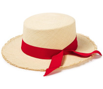 Woman Canvas-trimmed Frayed Toquilla Straw Panama Hat Red