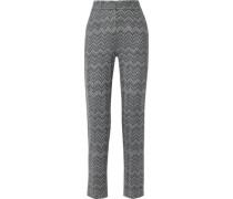 Crochet-knit wool-blend straight-leg pants