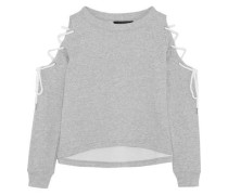 Kennedy cold-shoulder lace-up cotton-blend jersey sweatshirt