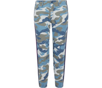 Woman The No Zip Misfit Printed Cotton-blend Twill Tapered Pants Blue