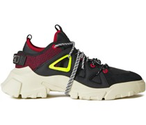 Orbyt Leather, Suede And Neoprene Sneakers