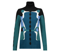 Intarsia Cotton, Cashmere And Silk-blend Turtleneck Sweater Petrol