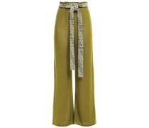 Belted Pointelle-knit Wool Wide-leg Pants