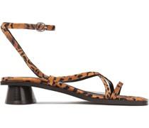 Yumi Leopard-print Suede Sandals