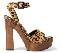 Faira Chain-trimmed Leopard-print Calf Hair Platform Sandals