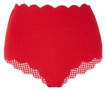 Santa Monica Scalloped Stretch-crepe High-rise Bikini Briefs