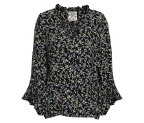 Ruffle-trimmed Floral-print Crepe Blouse