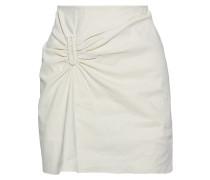Woman Barbell-embellished Gathered Linen-blend Mini Skirt Ecru