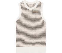 Garey Striped Knitted Cotton-blend Tank Weiß