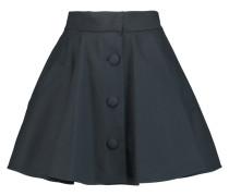 Pleated Stretch-cotton Piqué Mini Skirt Mitternachtsblau