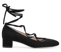 Evelyn Lace-up Suede Pumps Schwarz
