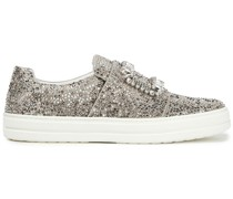 Sneaky Strass Crystal-embellished Satin Slip-on Sneakers