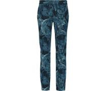 Printed crepe slim-leg pants