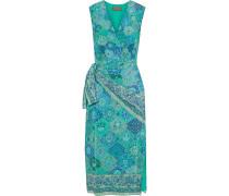 Sade Wrap-effect Draped Printed Silk Crepe De Chine Dress