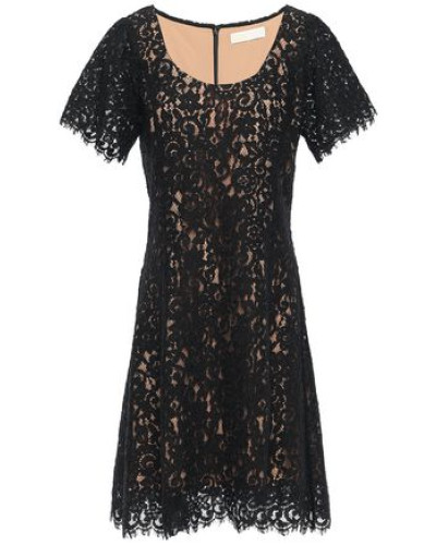 Scalloped Cotton-blend Corded Lace Mini Dress Black Size 0