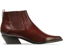 Woman Westin Glossed-leather Ankle Boots Merlot