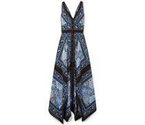 Duel Printed Silk Crepe De Chine Maxi Dress